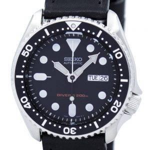 Montre 200M Ratio cuir noir SKX007K1-LS8 masculine automatique Seiko Diver