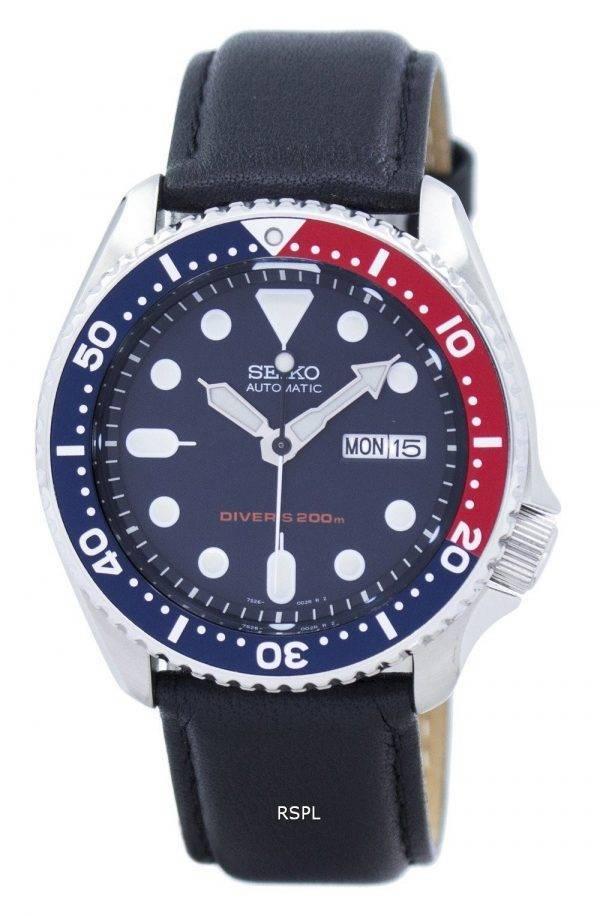 Montre 200M Ratio cuir noir SKX009K1-LS10 masculine automatique Seiko Diver