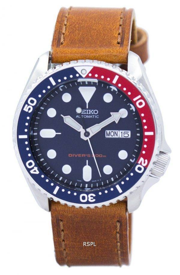 Montre 200M Ratio cuir marron SKX009K1-LS9 masculine automatique Seiko Diver