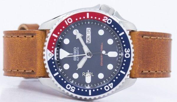 Montre 200M Ratio cuir marron SKX009K1-LS9 masculine automatique Seiko Diver