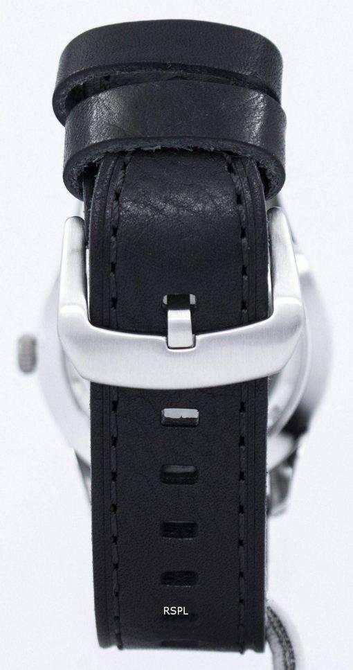 Seiko 5 Sports automatique militaire au Japon fait Ratio cuir noir SNZG07J1-LS8 montre homme