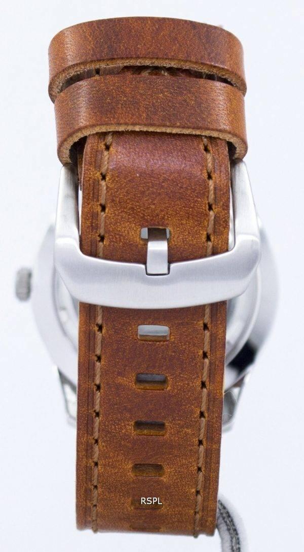 Seiko 5 Sports automatique militaire au Japon fait Ratio cuir marron SNZG07J1-LS9 montre homme