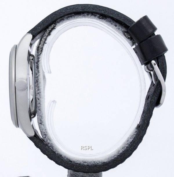 Seiko 5 Sports automatique Japon fait rapport / cuir noir SNZG15J1-LS8 montre homme
