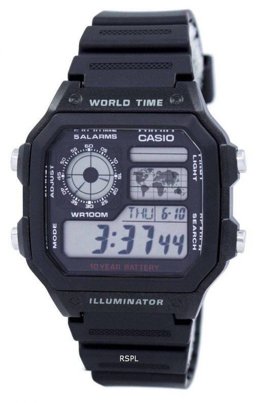 Jeunesse de Casio Illuminator monde temps alarme AE-1200WH-1AV AE1200WH-1AV montre homme
