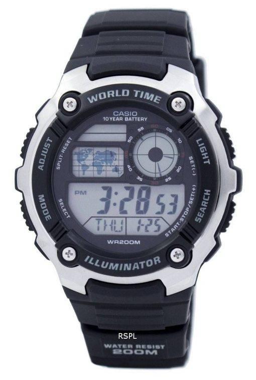 Casio jeunesse illuminateur World Time Digital AE-2100W-1AV AE2100W-1AV montre homme