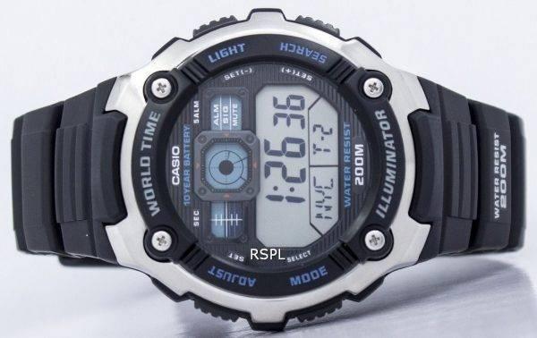 Jeunesse de Casio Illuminator monde temps alarme AE-2000W-1AV AE2000W-1AV montre homme