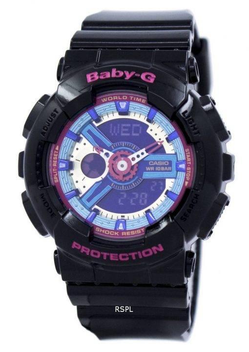 Montre Casio Baby-G Time monde analogique Multicolor cadran numérique BA-112-1A femmes