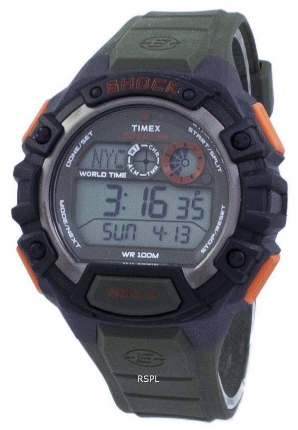 Timex Expedition choc monde temps numérique Indiglo T49972 montre homme