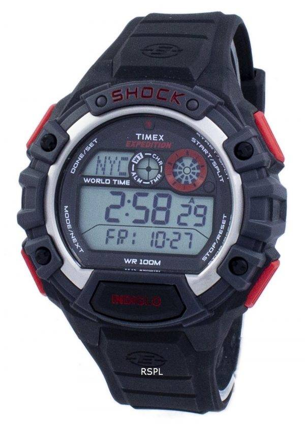 Timex Expedition choc mondial monde temps alarme Indiglo Digital T49973 montre homme