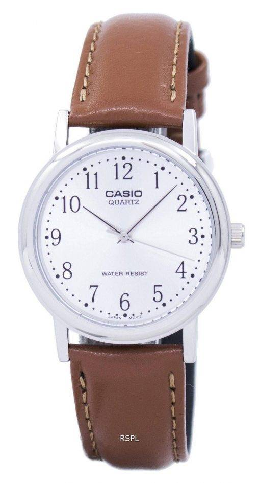 Casio Quartz cadran argenté cuir marron MTP-1095E-7BDF PSG-1095E-7 b montre homme