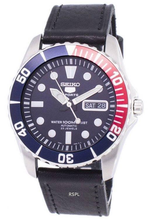 Seiko 5 Sports automatique Ratio en cuir noir SNZF15K1-LS8 hommes