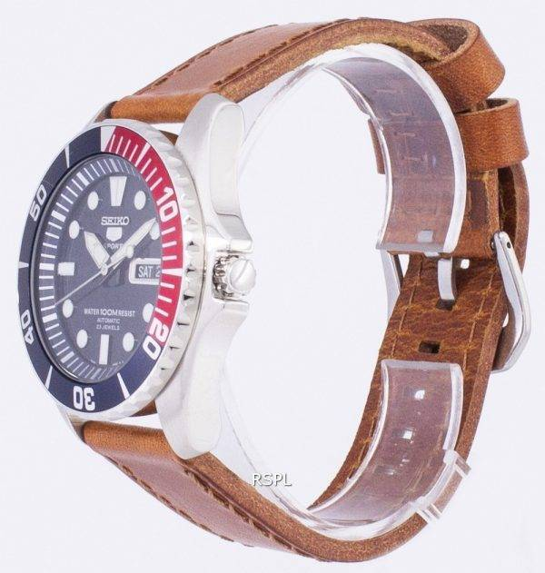 Seiko 5 Sports automatique Ratio en cuir brun SNZF15K1-LS9 hommes