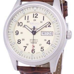 Seiko 5 Sports automatique Ratio en cuir brun SNZG07K1-LS7 hommes