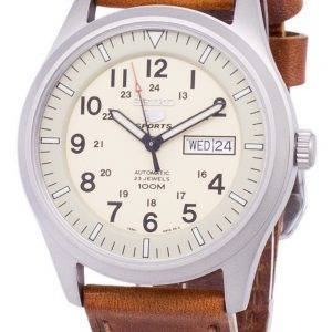 Seiko 5 Sports automatique Ratio en cuir brun SNZG07K1-LS9 hommes