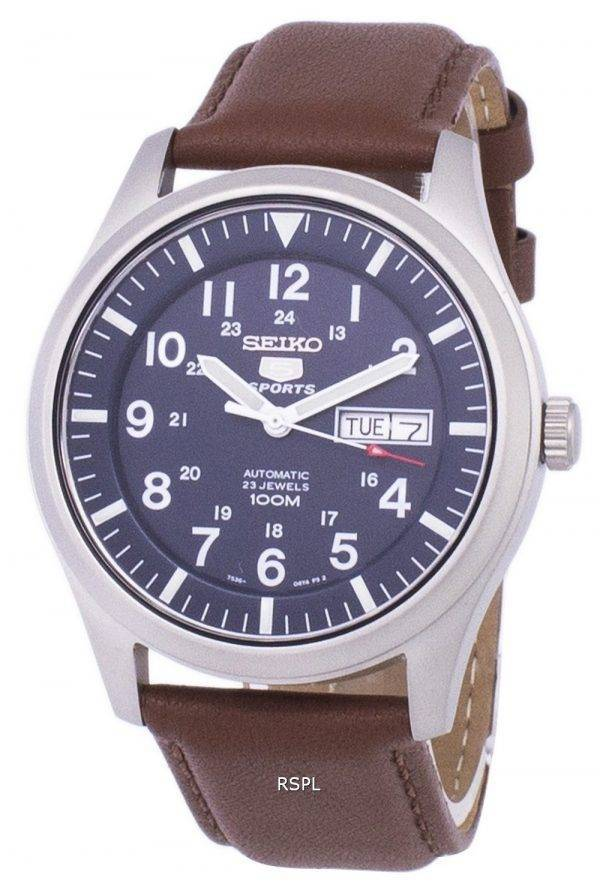 Seiko 5 Sports automatique Ratio en cuir brun SNZG11K1-LS12 hommes