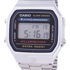 Casio Digital alarme Chrono acier inoxydable A168WA-1WDF A168WA-1W montre unisexe