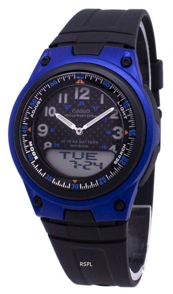 Analogique Casio Illuminator numérique fiche noir/bleu AW-80-2BVDF AW-80-2BV montre homme