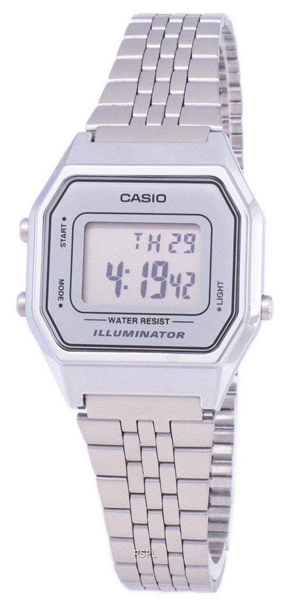 Montre Casio Digital Quartz en acier inoxydable illuminateur 7DF-LA680WA LA680WA-7 femmes
