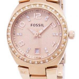 Fossiles montre cristaux Serena Rose doré en acier inoxydable AM4508 féminin