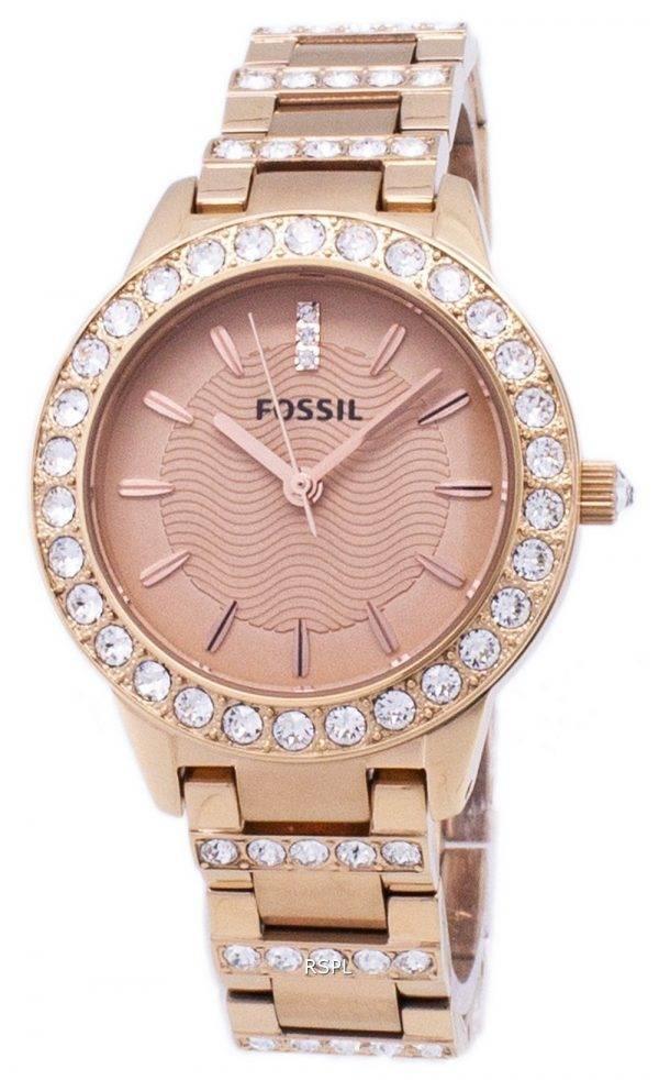 Fossiles Jesse cristal Rose Gold Tone montre ES3020 féminin