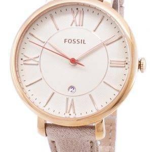 Fossil Jacqueline cadran blanc bracelet en cuir Camel ES3487 Montre Femme