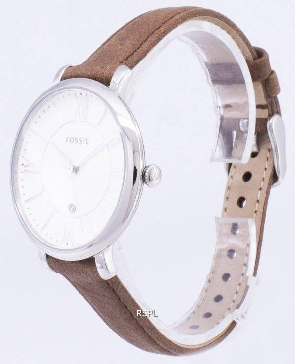 Fossiles Jacqueline Silver cadran montre de bracelet cuir Tan ES3708 féminin