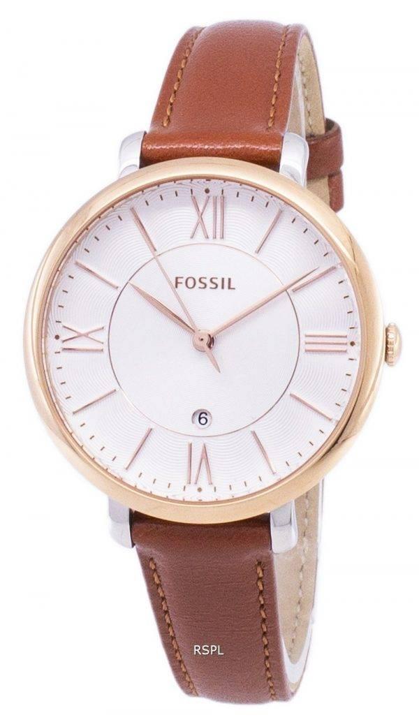 Fossiles Jacqueline Silver cadran de montre de cuir brun ES3842 féminin