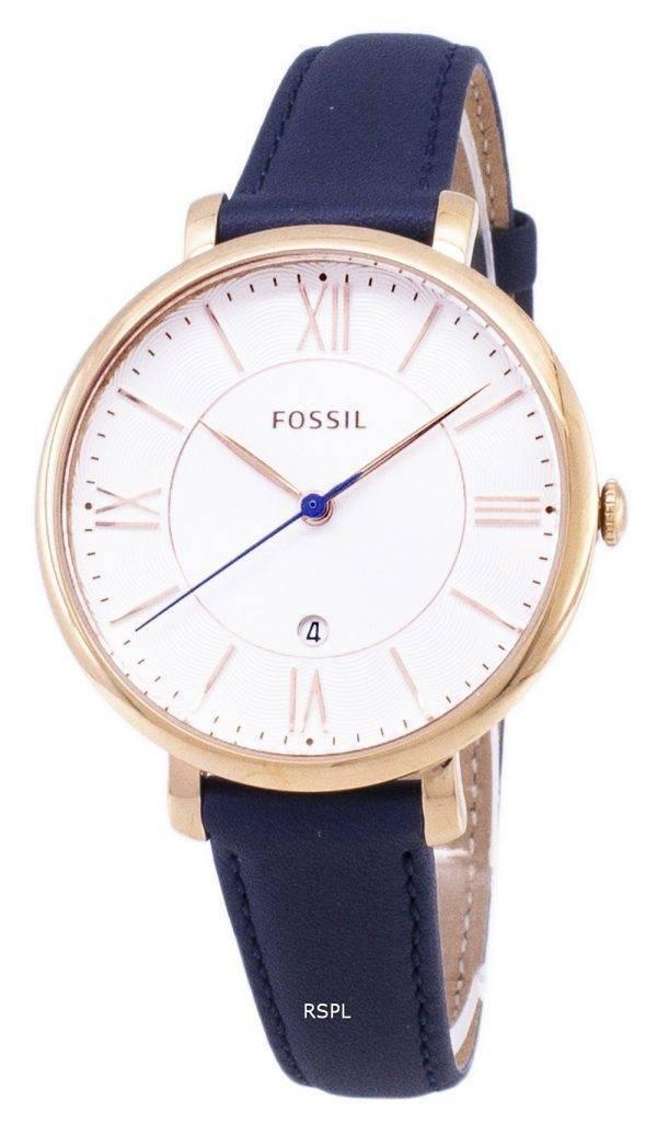 Fossiles Jacqueline Silver cadran de montre de cuir bleu marine ES3843 féminin