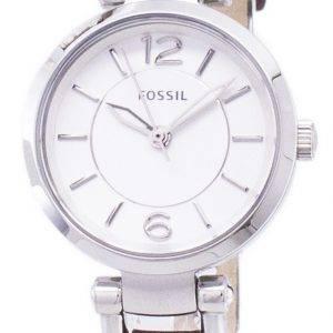 Fossiles Géorgie Silver cadran de montre de cuir brun ES3861 féminin