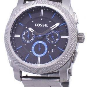 Machine fossiles Quartz chronographe cadran noir Gunmetal FS4931 Ion-plaqué montre homme