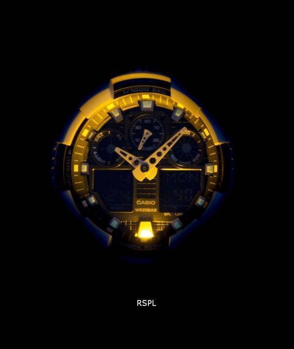 Montre Casio G-Shock World Time Blanc Numérique Analogique GA-100B-7A hommes