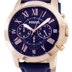 Accorder des fossiles montre chronographe en cuir bleu bracelet FS4835 masculin