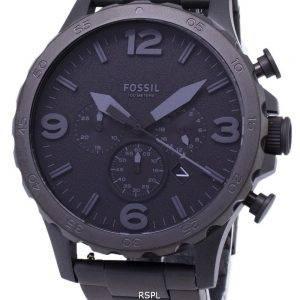 Fossiles Nate chronographe cadran noir noir JR1401 Ion-plaqué montre homme