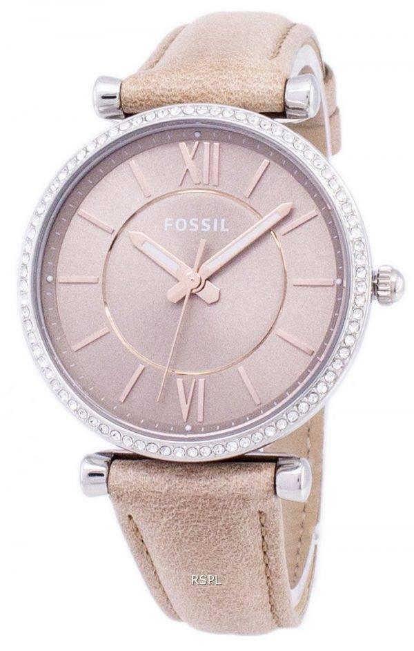 Fossiles Carlie trois aiguilles sable Quartz diamant Accents ES4343 Women Watch
