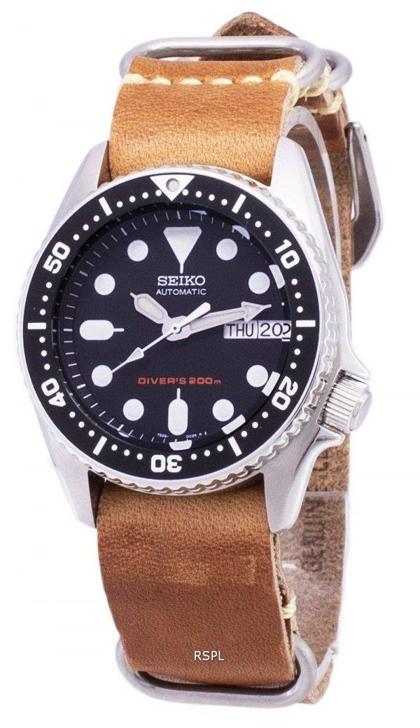 Seiko automatique SKX013K1-MS10 Diver 200M cuir marron bracelet montre homme