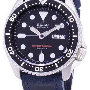 200M Japon Seiko automatique SKX007J1-LS13 Diver fait en cuir bleu bracelet montre homme