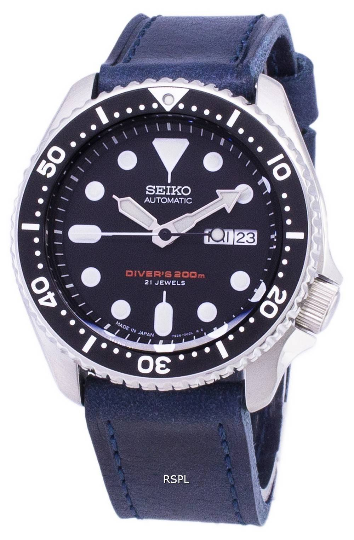 Japon Bleu Automatique Diver Homme Cuir Bracelet 200m Skx007j1 Fait Ls13 Montre Seiko En 2DEIWH9