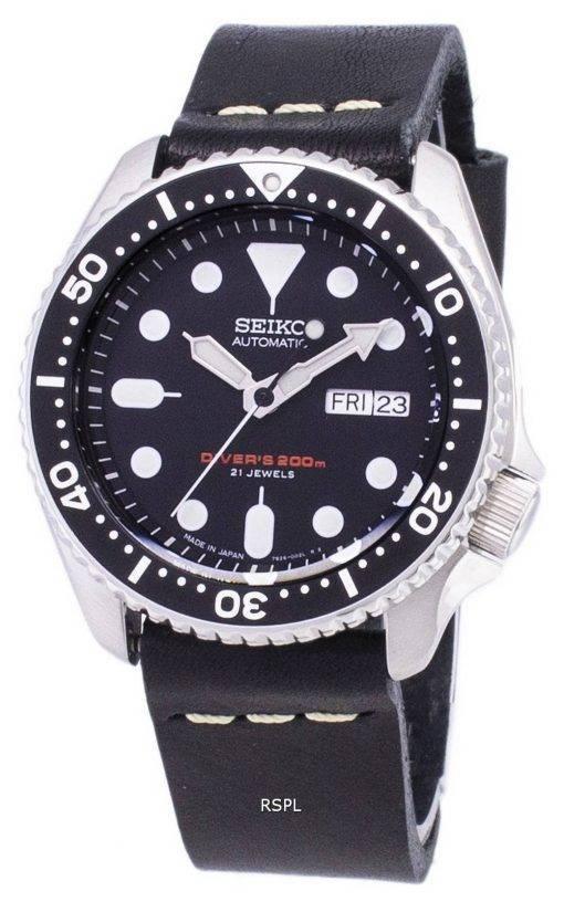 200M Japon Seiko automatique SKX007J1-LS14 Diver fait en cuir noir bracelet montre homme
