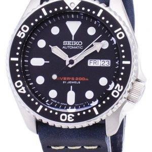 200M Japon Seiko automatique SKX007J1-LS15 Diver fait en cuir bleu foncé bracelet montre homme