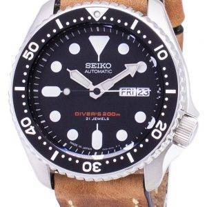 200M Japon Seiko automatique SKX007J1-LS17 Diver fait en cuir marron bracelet montre homme