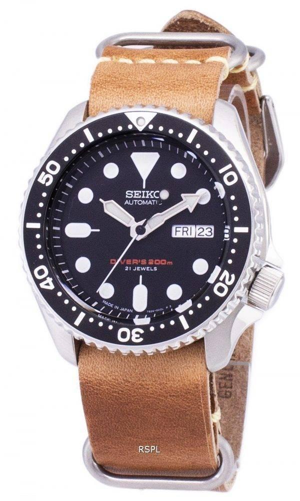 200M Japon Seiko automatique SKX007J1-LS18 Diver fait en cuir marron bracelet montre homme