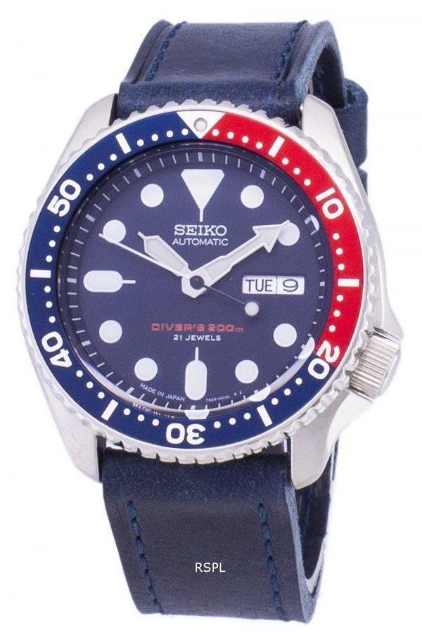 Montre 200M en cuir bleu foncé sangle masculine Seiko automatique SKX009J1-LS13 Diver