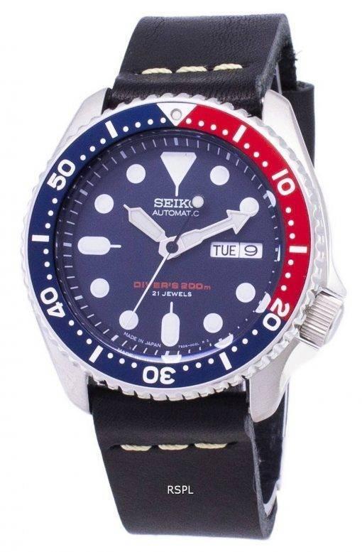 200M Japon Seiko automatique SKX009J1-LS14 Diver fait en cuir noir bracelet montre homme