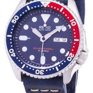 Montre 200M en cuir bleu foncé sangle masculine Seiko automatique SKX009J1-LS15 Diver