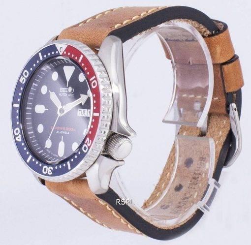 200M Japon Seiko automatique SKX009J1-LS17 Diver fait en cuir marron bracelet montre homme