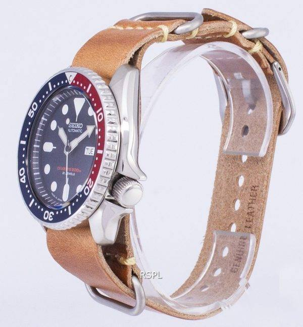 200M Japon Seiko automatique SKX009J1-LS18 Diver fait en cuir marron bracelet montre homme