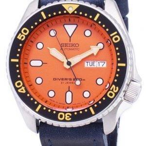 Montre 200M en cuir bleu foncé sangle masculine Seiko automatique SKX011J1-LS13 Diver