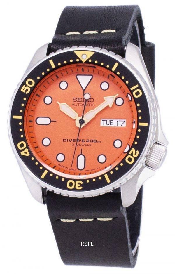 200M Japon Seiko automatique SKX011J1-LS14 Diver fait en cuir noir bracelet montre homme