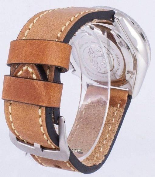 200M Japon Seiko automatique SKX011J1-LS17 Diver fait en cuir marron bracelet montre homme
