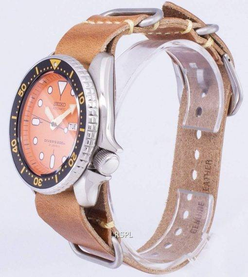 200M Japon Seiko automatique SKX011J1-LS18 Diver fait en cuir marron bracelet montre homme
